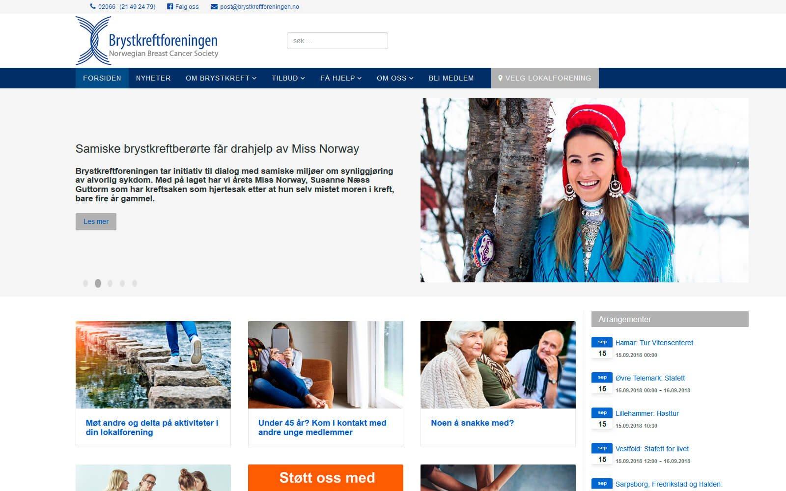Brystkreftforeningen webside