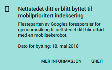 Mobilprioritert nettsted i Google Search Console
