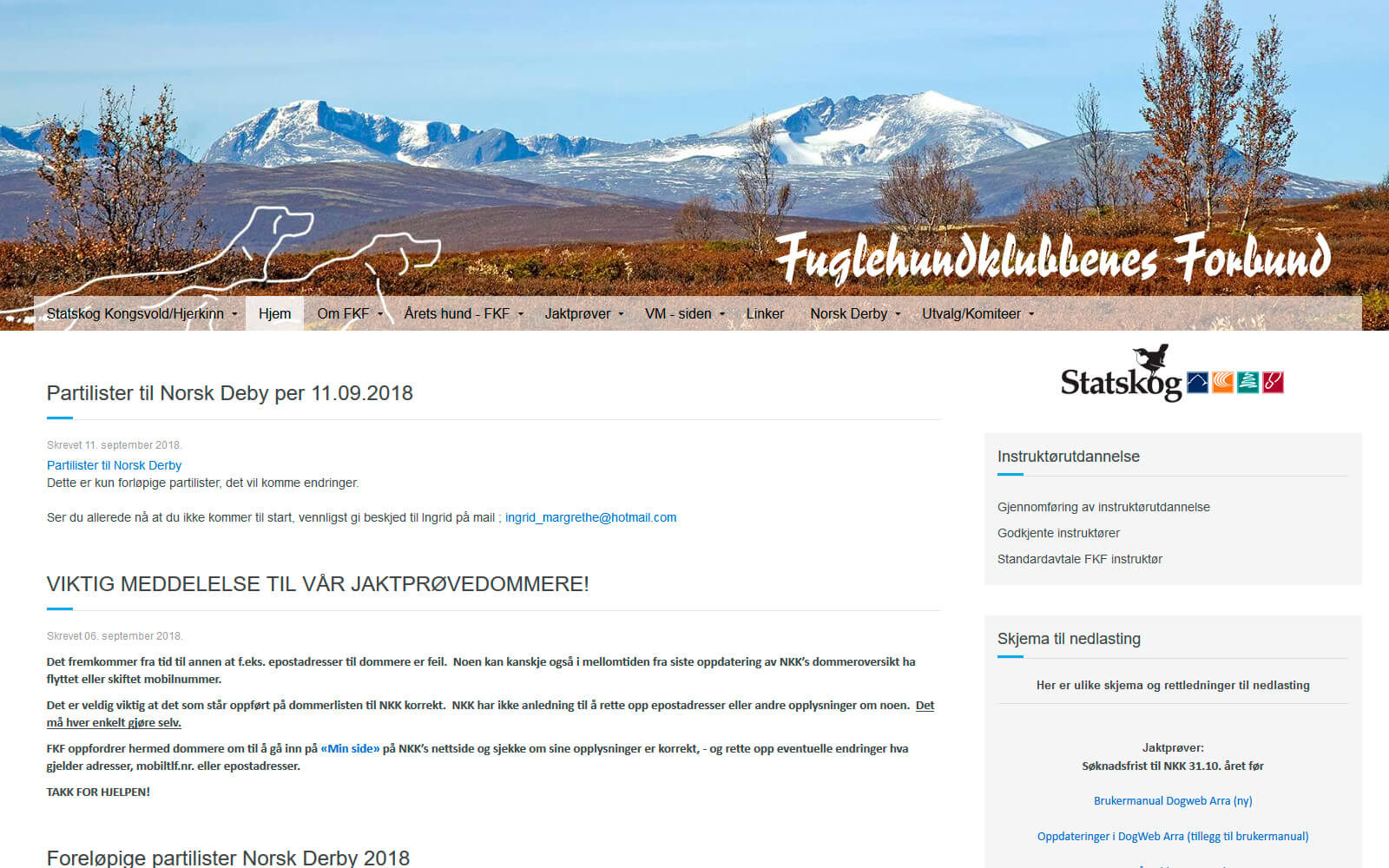 Fuglehundklubbenes forbund webside