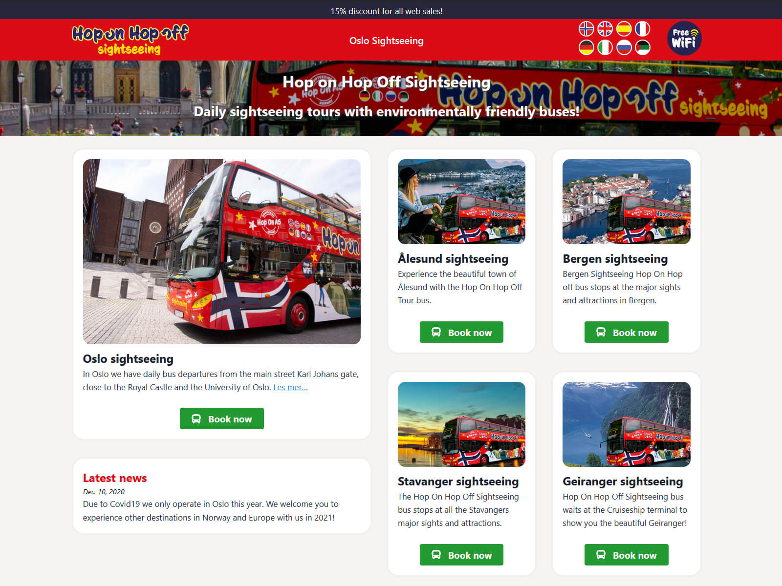 Hop On Hop Off sightseeing bus website