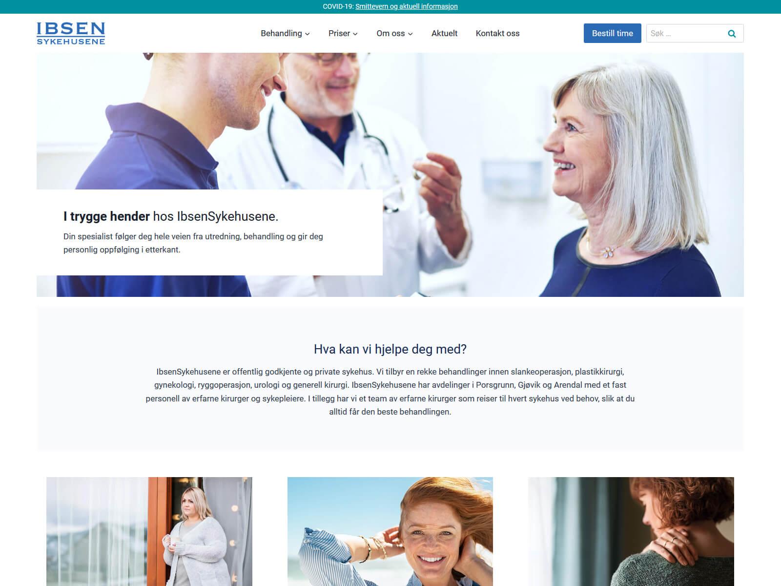 Websiden til IbsenSykehusene