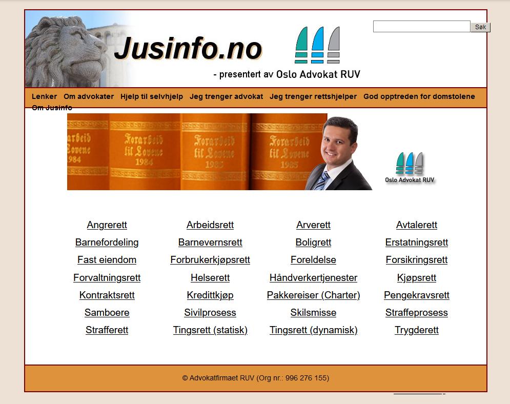 Jusinfo gammel webside