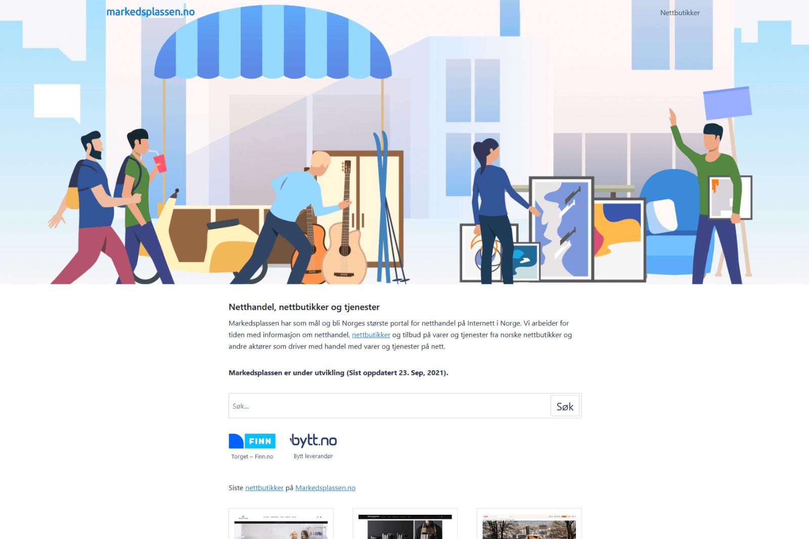 Markedsplassen nettbutikker og tjenester webside