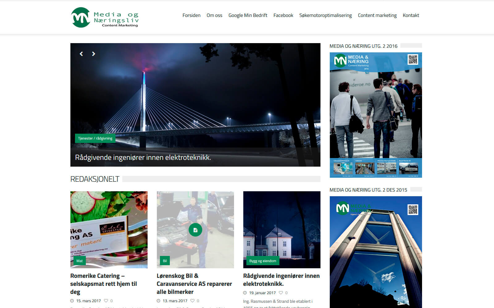 Media og Næring webside