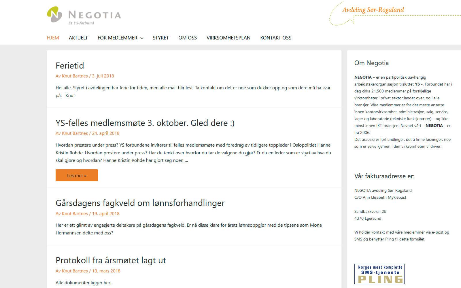 Negotia avdelingswebside