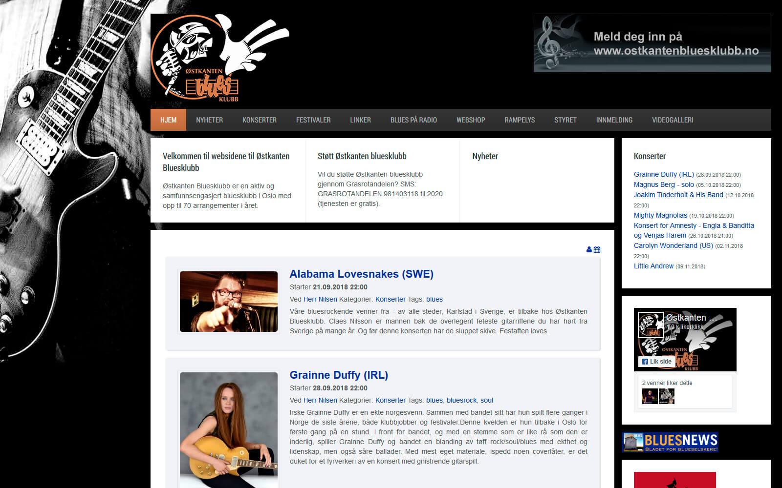 Østkanten Bluesklubb webside