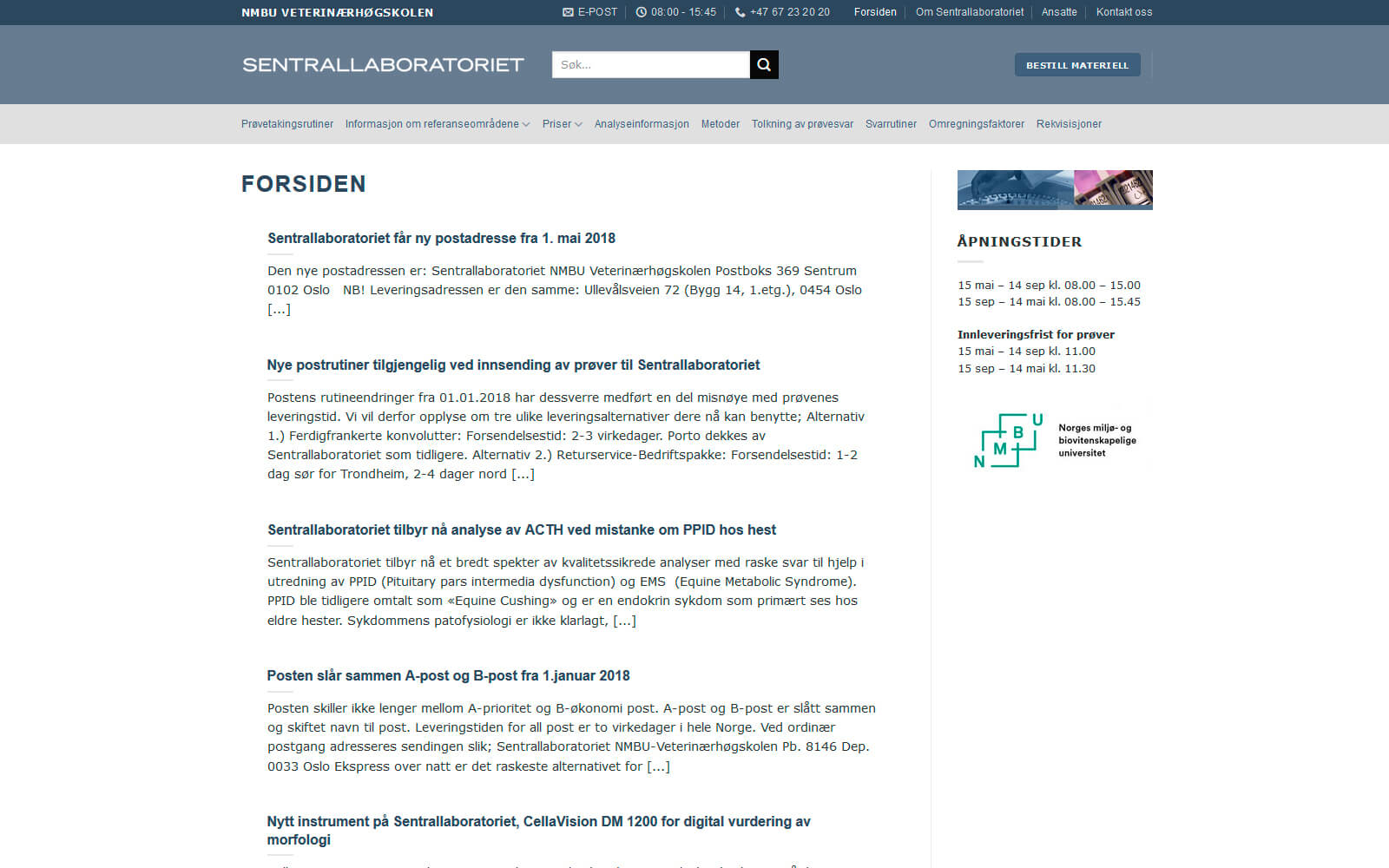 NMBU Veterinærhøgskolen Sentrallaboratoriet webside
